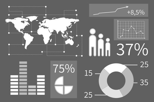 Business interface with graphics