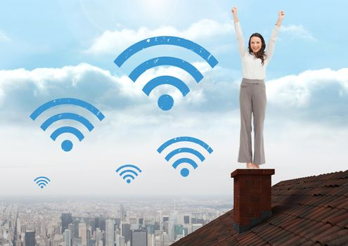 Wi-fi icons and Businesswoman standing on Roof with chimney and city