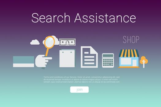 Composite image of icons with search assistance text