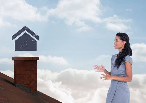 Home icon over roof chimney and Businesswoman standing on Roof with chimney and blue sky
