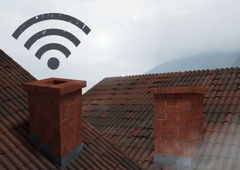 Wi-fi icon over roof chimney