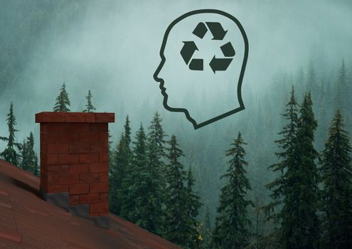 Recycle sustainable icon in head over forest roof