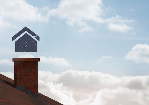House icon over chimney roof