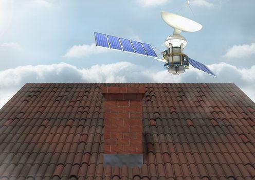 Satellite over roof