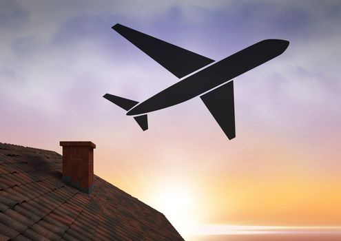 Plane icon over roof