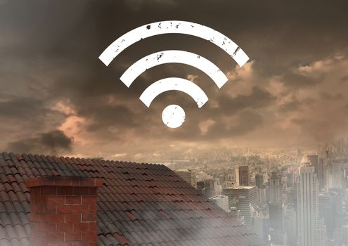 Wi-fi icon over roof and city
