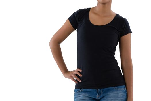 Mid section of woman in casual clothing