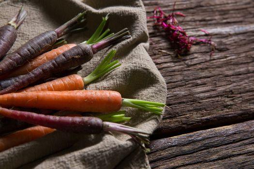 Fresh carrots on napkin