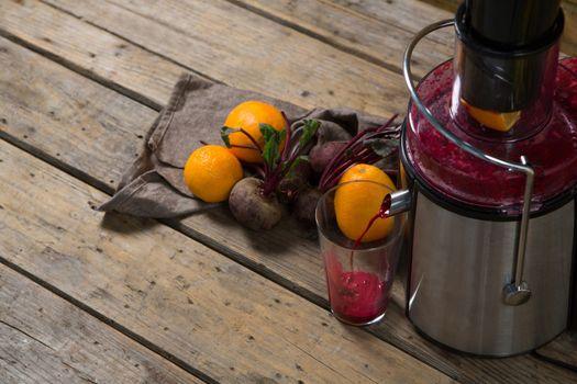 Juice being grind in juicer