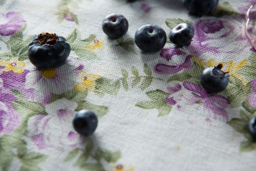 Blueberries on textile