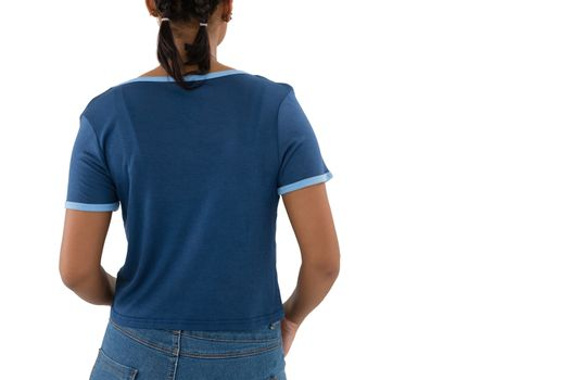 Rear view of woman in casual clothing