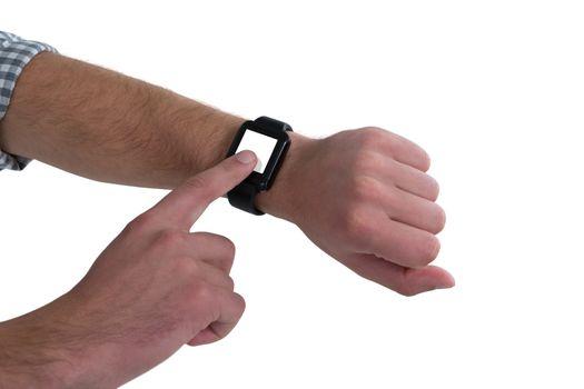 Close-up of man wearing smartwatch