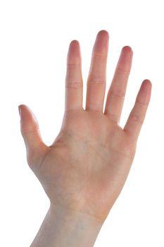 Close up of waving hand