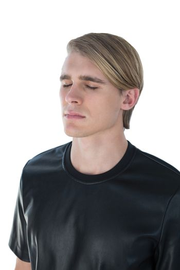 Young man with eyes closed
