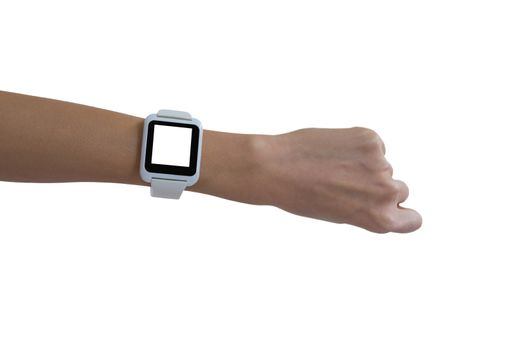 Womans hand showing smartwatch