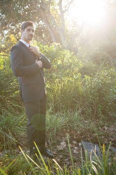 Portrait of bridegroom adjusting necktie while standing in park