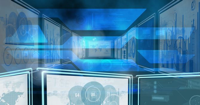 Digital composite of technology interface panels