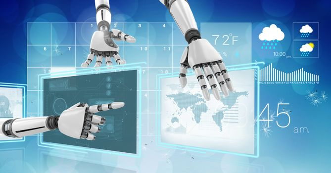 Digital composite of Robot hands interacting with technology interface panels of world weather
