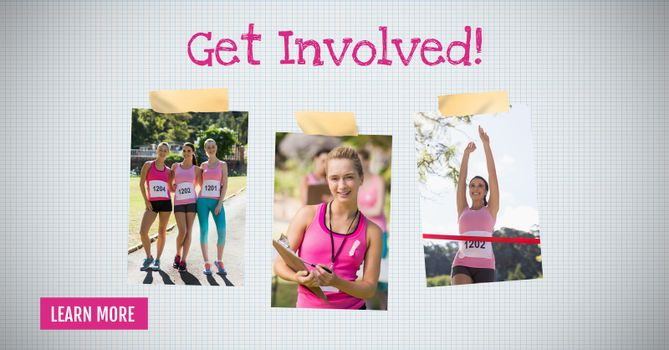 Learn more button with Get involved text on Breast Cancer Awareness Photo Collage for marathon run