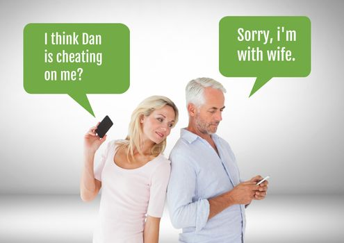 Couple texting about cheating