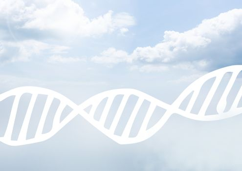Sky clouds with graphics of DNA