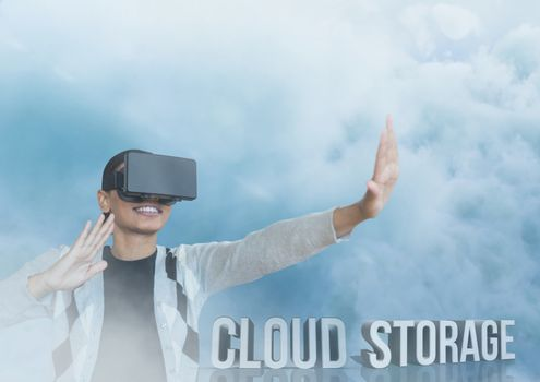 guy with vr in cloud storage