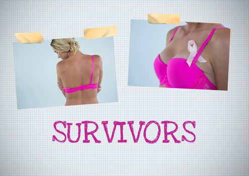Survivors text and Breast Cancer Awareness Photo Collage