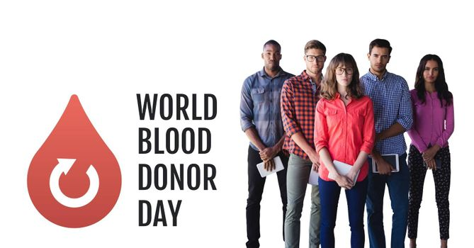 Digital composite of Group of people with world blood donor day and blood donation graphic