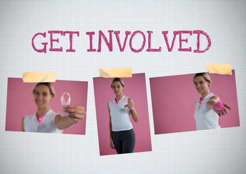 Get involved text and Breast Cancer Awareness Photo Collage
