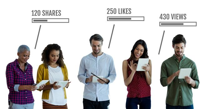 Digital composite of People on tablets with likes, views and Shares status bars
