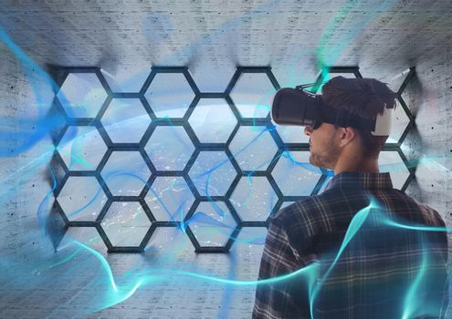 Man with vr in space room
