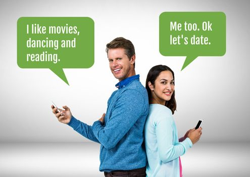 Couple texting about dating
