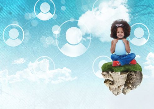 Digital composite of Young Girl on floating rock platform  in sky with people profiles interface