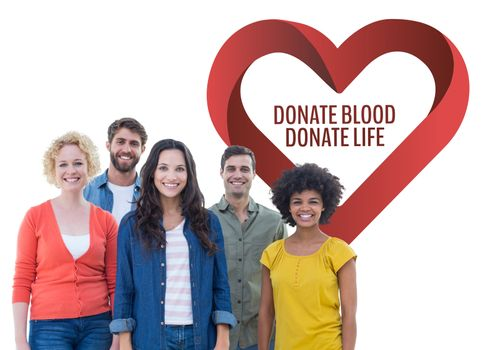 Group of people with donate blood donate life text and a heart graphic
