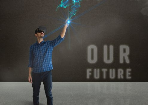 man in shirt with vr future