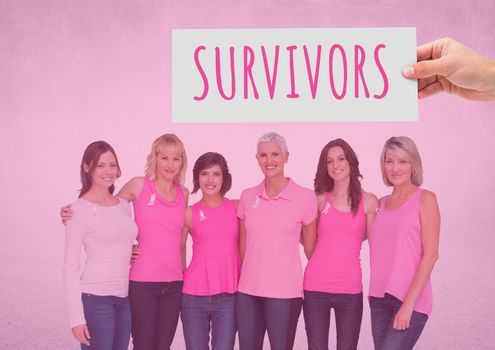Survivors Text and Hand holding card with pink breast cancer awareness women