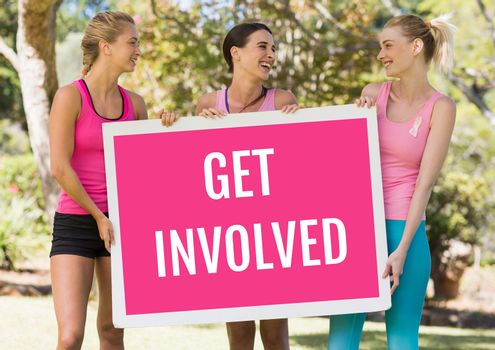 Get involved text and pink breast cancer awareness women holding card