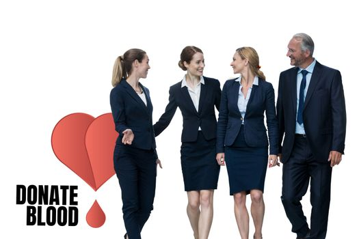 Business people with donate blood text
