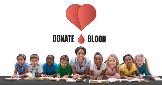 Student with donate blood text