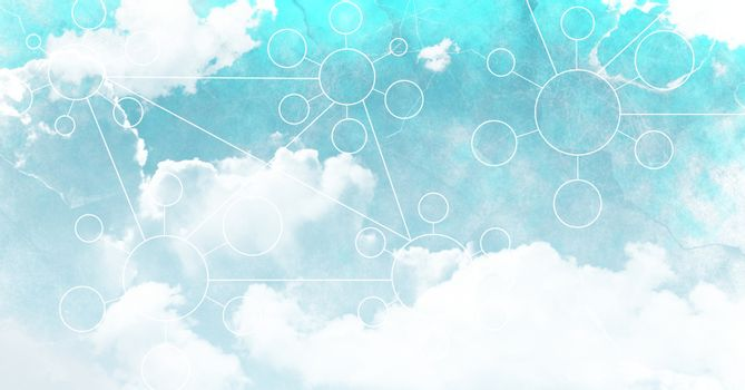 Sky clouds with graphics of connectors