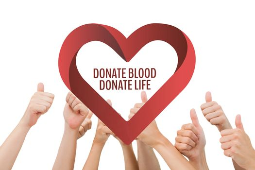 Hands with donate blood donate life text and a heart graphic