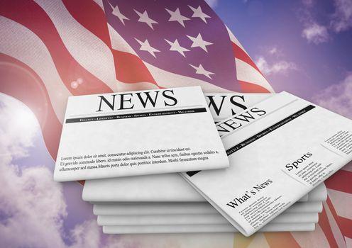 Newspapers on USA flag