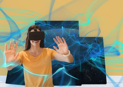 Smiling woman with vr headset