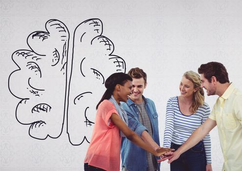 Creative people with hand-drawn brain