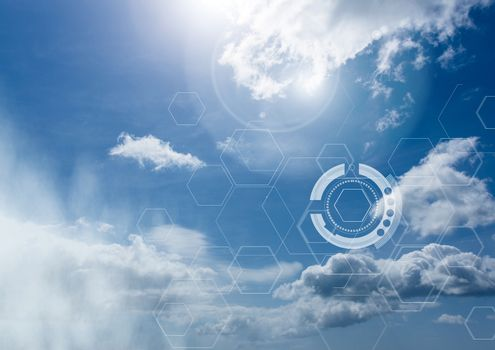 Sky clouds with graphics of interfaces