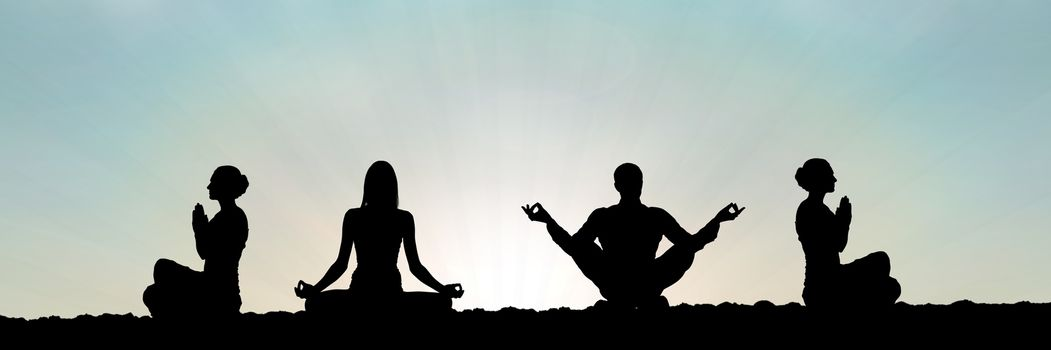 Digital composite of yoga group silhouette at sunset praying