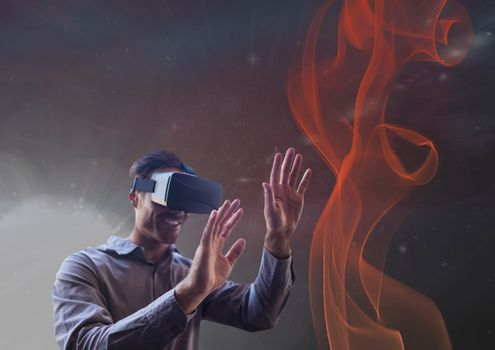 man smiling with vr headset