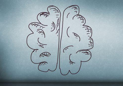 hand-drawn brain on blue background