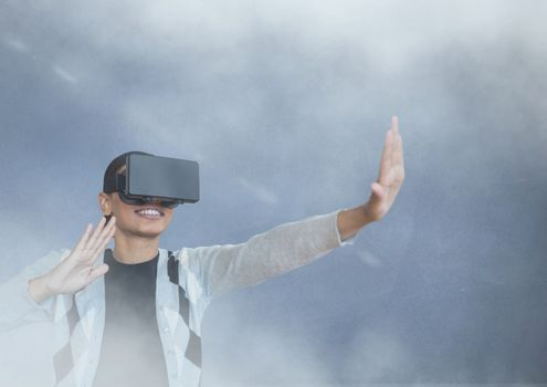 guy with vr in smoke