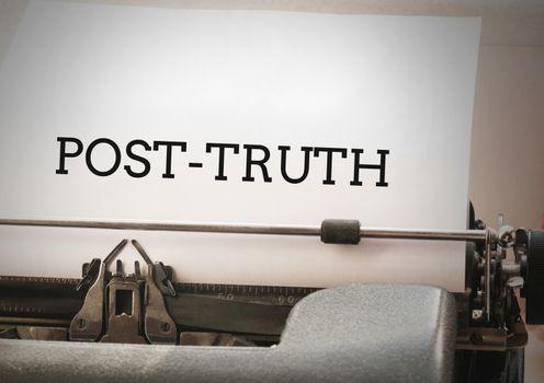 Post-truth text on typewriter